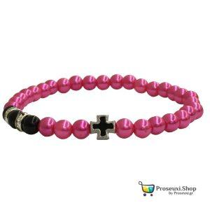 Κομποσχοίνι 33άρι από χάντρες χρώματος ροζ φούξια - μαύρου