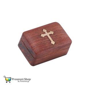 Ξύλινο κουτί με μπρούτζινο σταυρό