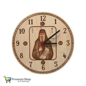 Ρολόι Άγιος Παΐσιος από ξύλο σημύδας με χάραξη