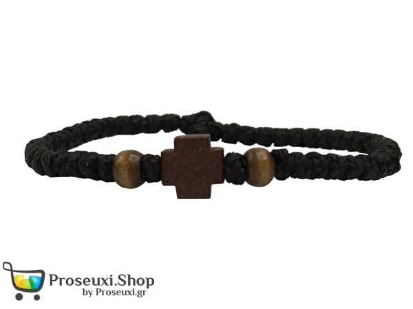 Κομποσχοίνι κερωμένο με ξύλινο σταυρό