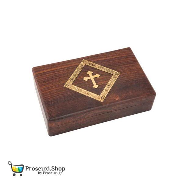 Κουτί για Λείψανα, λιβάνι ή θυμίαμα (ξύλινο με σταυρό)