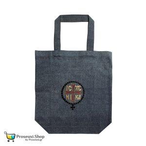 Τζιν τσάντα ώμου με κέντημα ICXC NIKA